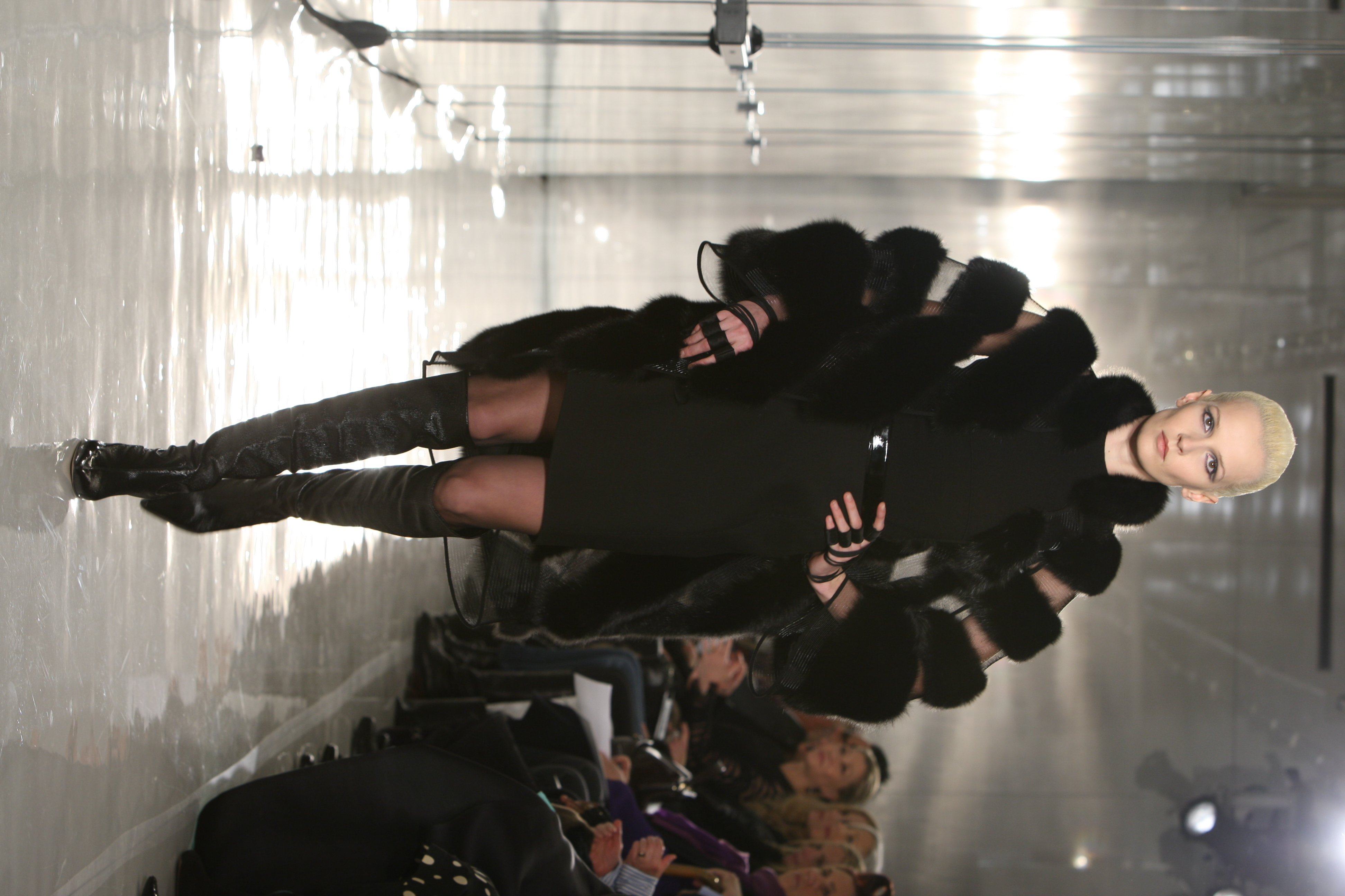 A model on the runway at the Chado Ralph Rucci fall 2010 show.