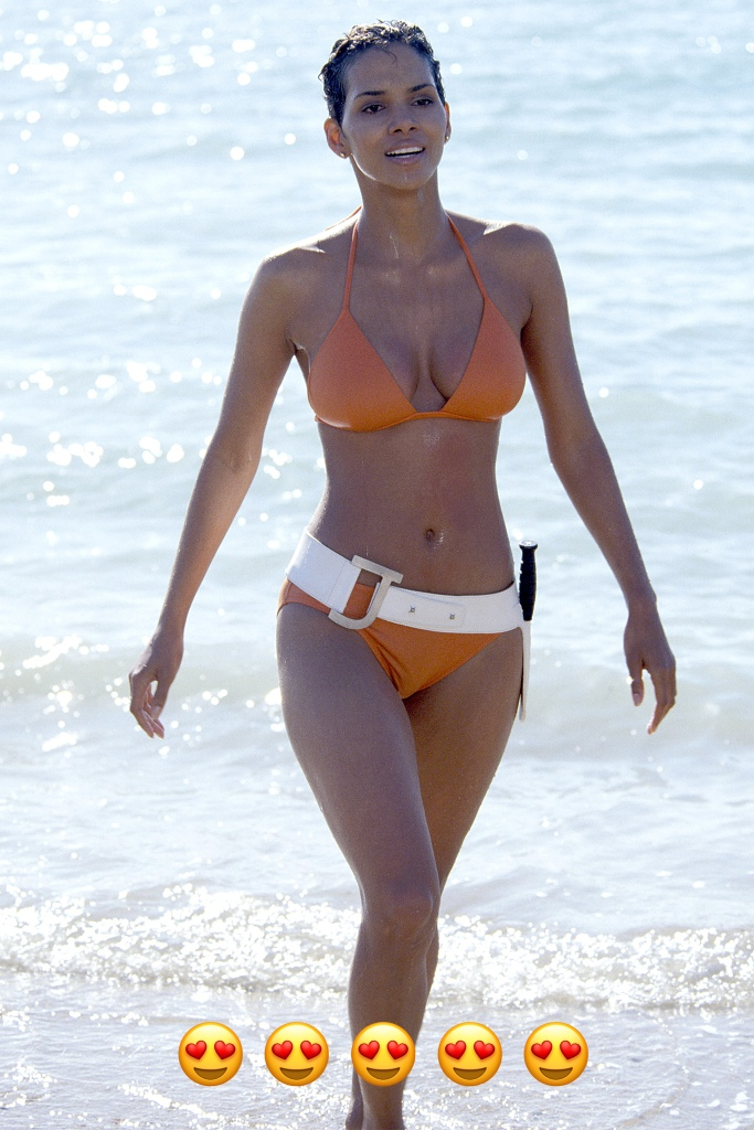 Who doesnÕt love an orange bikini with a white belt for your weapon? Based on European runways this season, this look feels very of the now - but BerryÕs star power makes it always timeless.
